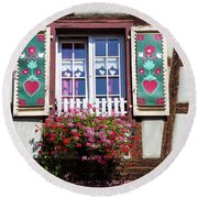 Flowered Window - 6 Round Beach Towel