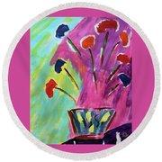 Flowers Gone Wild Round Beach Towel by Deborah Boyd