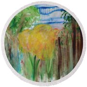 Flowers In A Forest Round Beach Towel