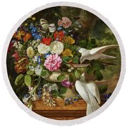 Flowers In A Vase With Two Doves Round Beach Towel