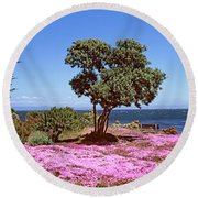 Flowers On The Beach, Pacific Grove Round Beach Towel by Panoramic Images