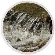 Flowing Water Over Rocks Round Beach Towel