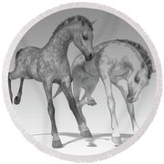 Foals Black And White Bleached Round Beach Towel