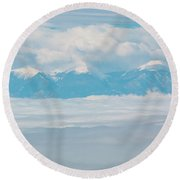 Fog And Snow On The Sangre De Cristo Round Beach Towel