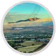 Fog Over Squaw Butte Round Beach Towel
