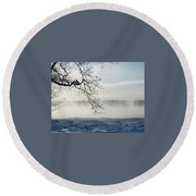Fog Over The River Round Beach Towel