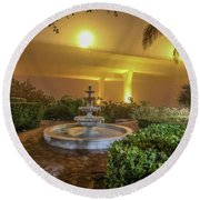 Foggy Fountain And Bridge Round Beach Towel by Tom Claud