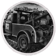 Ford F4 Tow The Truck Business End Black And White Round Beach Towel