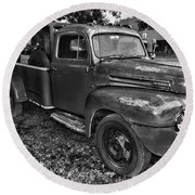Ford F4 Tow The Truck Hook And Book Black And White Round Beach Towel