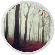 Forest In December Mist Round Beach Towel