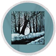 Forest Misty Dawn In Late Fall Round Beach Towel
