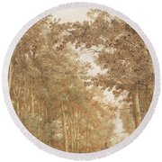 Forest Road Wi  Round Beach Towel