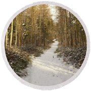 Forest Track In Winter Round Beach Towel