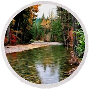 Forest With River Round Beach Towel