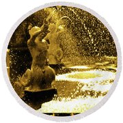 Forsyth Park Tritons In A Cascade Of Gold Round Beach Towel