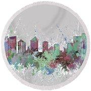 Fort Worth Skyline Artistic Pastel Round Beach Towel