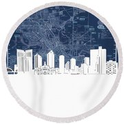 Fort Worth Skyline Map Blue Round Beach Towel
