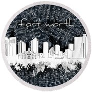 Fort Worth Skyline Music Sheet 2 Round Beach Towel