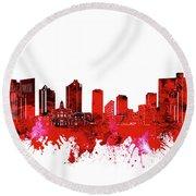 Fort Worth Skyline Red Round Beach Towel