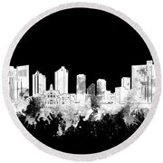 Fort Worth Skyline Watercolor Black And White 2 Round Beach Towel