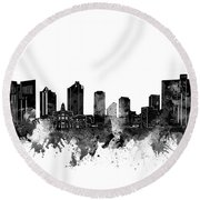 Fort Worth Skyline Watercolor Black And White Round Beach Towel