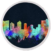 Fort Worth Skyline Watercolor Black Round Beach Towel