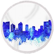 Fort Worth Skyline Watercolor Blue Round Beach Towel