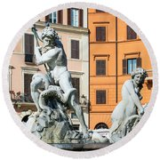 Fountain Of Neptune Round Beach Towel