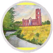 Fountains Abbey In Yorkshire Through Japanese Eyes Round Beach Towel