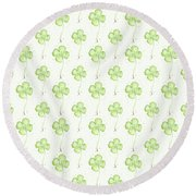 Four Leaf Clover Lucky Charm Pattern Round Beach Towel