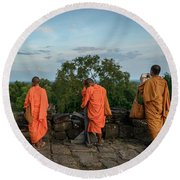 Four Monks And A Phone. Round Beach Towel