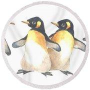Four Penguins Round Beach Towel