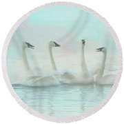 Four Swans Watercolor Group Round Beach Towel by Patti Deters