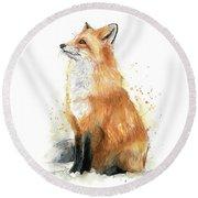 Fox Watercolor Round Beach Towel