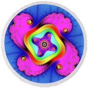 Fractal Art With Bold Colors Square Round Beach Towel