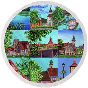 Frankenmuth Downtown Michigan Painting Collage II Round Beach Towel