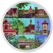 Frankenmuth Downtown Michigan Painting Collage V Round Beach Towel