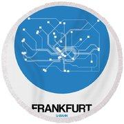 Frankfurt Blue Subway Map Round Beach Towel