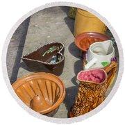 French Flea Market Pottery Round Beach Towel