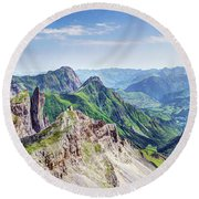 French Village In The Pyrenees Round Beach Towel