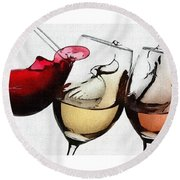 French Wines Round Beach Towel