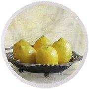 Fresh Lemons Round Beach Towel