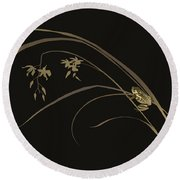 Frog And Orchid Round Beach Towel