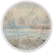 Frost, 1880 Round Beach Towel by Claude Monet