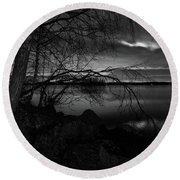 Full Moon Behind The Clouds Round Beach Towel
