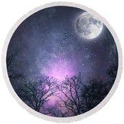 Full Moon Night Magic Round Beach Towel