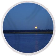 Full Moon Setting Over Skidaway River Round Beach Towel