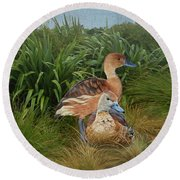 Fulvous Whistling Ducks  Round Beach Towel