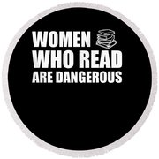 Funny Book Lover Design Who Likes Books Round Beach Towel