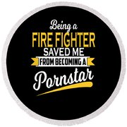 Funny Fire Fighter Gift Cool Design Round Beach Towel
